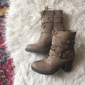 JustFab Taupe Brown Buckle Booties